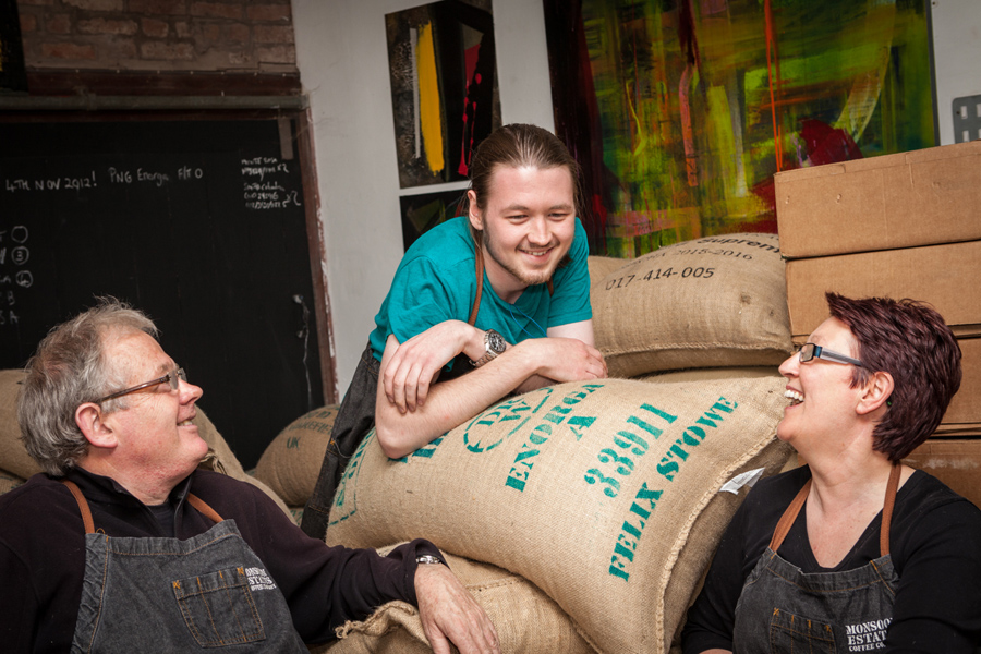 Chris, Will and Anne sell coffee worldwide from their micro roastery on the Alscot Estate in Warwickshire.